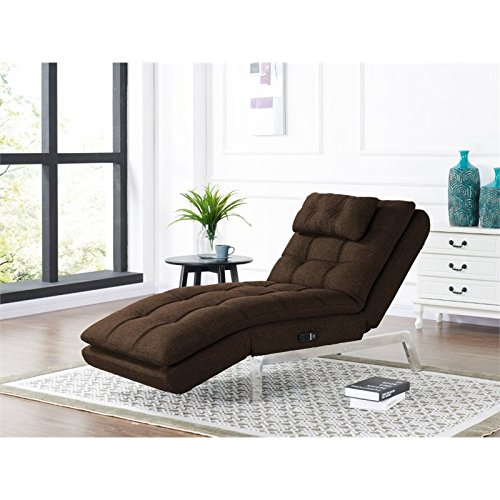 Relax-A-Lounger Hermes Convertible Chaise in Dark Brown