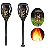 Eleoption Solar Garden Lights Outdoor Stakes Warm White Flickering LED Tiki Fire Torches Dusk to Dawn Auto On/Off for Pathway Christmas Outdoor Decoration etc (2 Pack)