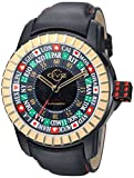 GV2 by Gevril Men's 'Lucky 7' Automatic Stainless Steel and Leather Casual Watch, Color:Black (Model: 9307)