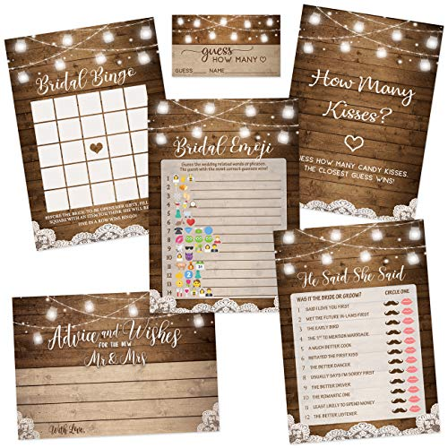 Rustic Bridal Shower Games | Set of 5 Games | 50 Sheets Each | Bridal Shower Games and Wedding Anniversary Activities | Includes Marriage Advice Cards and Emoji Game - 5 x 7 Inches ()