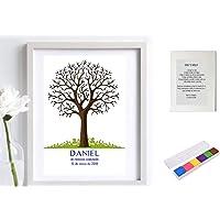 Didart Handmade Cuadro de árbol de huellas personalizado para cumpleaños, Comuniones, Bautizos. Varios tamaños y colores…