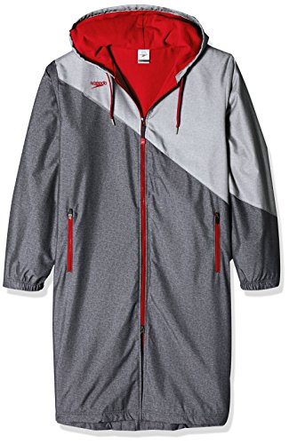 Speedo Unisex Color Block Parka Jacket, Medium , Red
