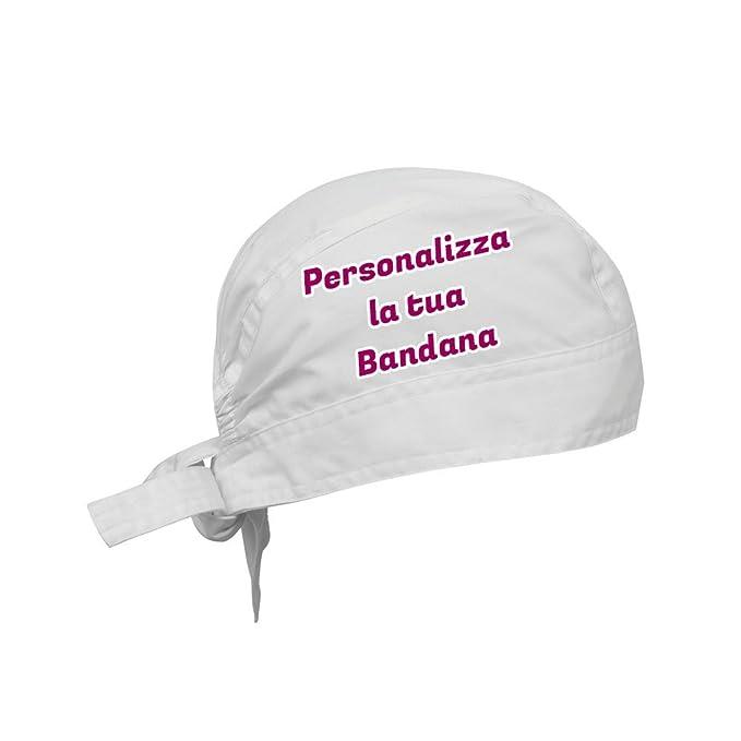 BANDANA BIANCA PER CHEF PERSONALIZZATA CON TESTO E IMMAGINI  Amazon ... e30a385496b7