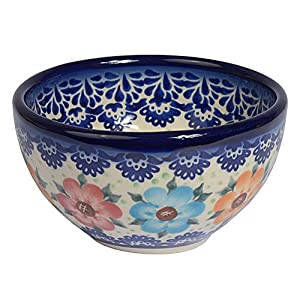 Traditional Polish Pottery, Boleslawiec Style Handcrafted Ceramic Snack & Dip Bowl d.10cm (200ml) M.700.BLUELACE