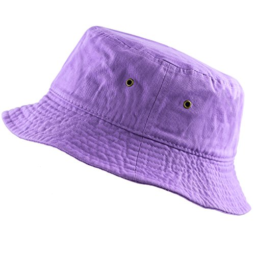 The Hat Depot 300N Unisex 100% Cotton Packable Summer Travel Bucket Hat (L/XL, Lavender)