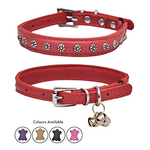 Ultra Soft Real Lamb Leather Studded Cat Collar with Break Away Safety Elastic Embellished with Detachable Handcrafted Indian Bells (One Size, Red)