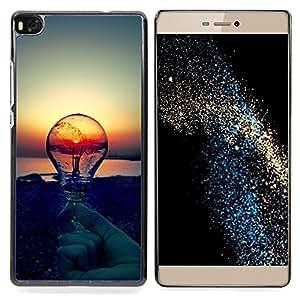 "Qstar Arte & diseño plástico duro Fundas Cover Cubre Hard Case Cover para Huawei Ascend P8 (Not for P8 Lite) (Sunset Idea Bombilla Idea Clever"")"