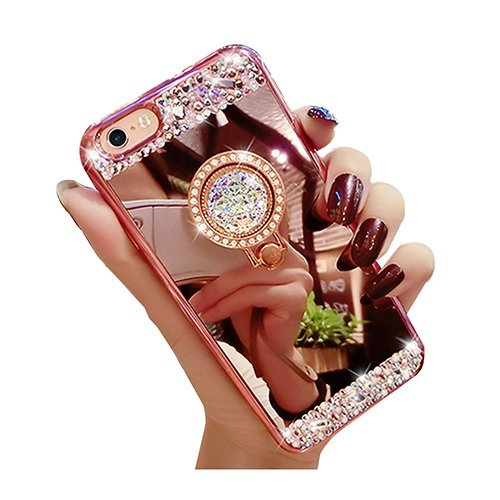iPhone 8 Plus Luxury Rhinestone Makeup Case,Auroralove iPhone 8 Plus Handmade Bling Diamond Soft TPU Mirror Glass Case for Girls Women with Detachable Ring Stand-Rose Gold