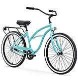 sixthreezero Around The Block Women's Single Speed Cruiser Bicycle, Teal Blue w/ Black Seat/Grips, 26' Wheels/17' Frame