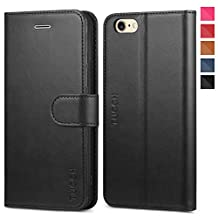 TUCCH iPhone 6s Case Leather Case Magnetic Flip Book Wallet Case with Kickstand, Card Slots and Money Pocket Compatible iPhone 6s / iPhone 6 4.7 Inch (Black)