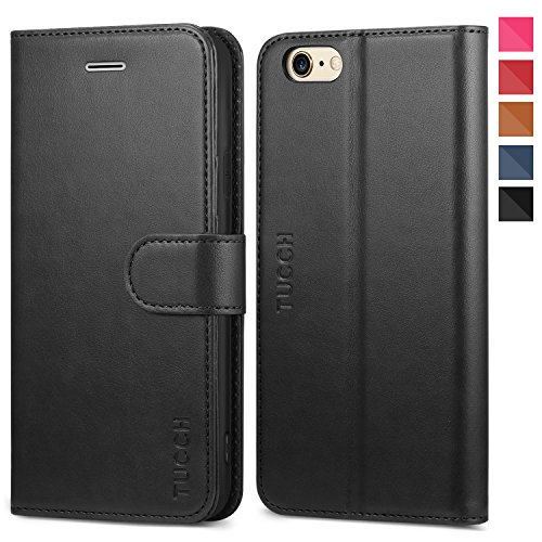 iPhone 6s Case, iPhone 6 Wallet Case, TUCCH Premium PU Leather Flip Folio Card Slot, Stand Holder, Magnetic Closure, [TPU Shockproof Interior Protective Case] Compatible iPhone 6s/6, Black