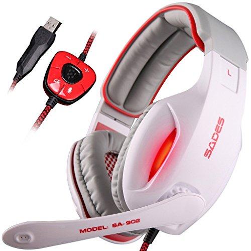 SADES SA902 7.1 Surround Sound Stereo Professionelle PC USB Gaming Headsets Stirnband Kopfhörer mit Mikrophon, tiefe Bässe, Over-the-Ear-Lautstärkeregler LED-Leuchten für PC Gamers (weiß)