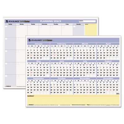 AT-A-GLANCE QuickNotes Write-On Wipe-Off Monthly Yearly Wall Calendar - 16 x 12.75 Inches (PM550B-28)
