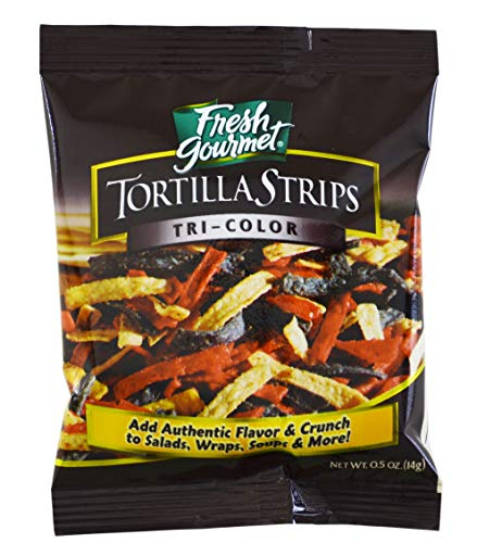 - Fresh Gourmet Tortilla Strips, Tri-Color, 0.5-Ounce Bags (Pack of 100) by Fresh Gourmet