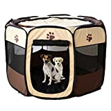 Pet Foldable Playpen Oxford Cloth Exercise Portable Kennel Indoor/Outdoor Bag Removable Mesh Shade Cover Easy Travel Hiking Camping Brown M