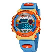 Aubig Colorful Watch Outdoor Sports Boys Girls LED Digital Alarm Stopwatch Waterproof Student Wristwatch Dress Gift Watch