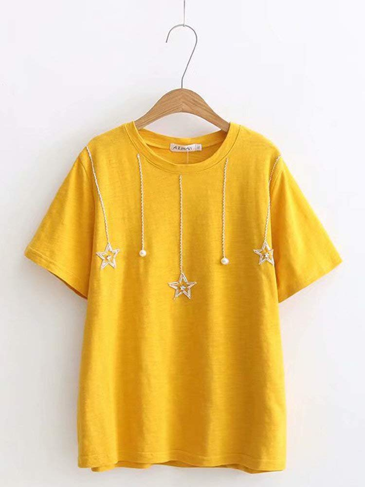 Eaglers Solid Color Beaded Star Crew Neck Short Sleeve Casual T-Shirt