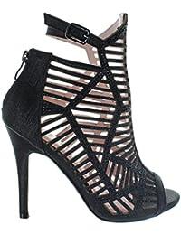 Women's PARIS-09 Faux Suede Glitter Pump Ankle Booties