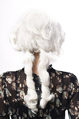 WIG ME UP /® DH1125-P60 Parrucca Donna Carnevale Halloween Barocco Rinascimento Lunga Ricci a Cavatappo Bianco Code Principessa Regina
