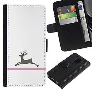 For Samsung Galaxy S5 V SM-G900,S-type® Cancer Deer Minimalist White - Dibujo PU billetera de cuero Funda Case Caso de la piel de la bolsa protectora