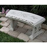 Hand Crafted 'Spiritual Bench' Cast Stone Garden Bench By Southwest Graphix. Persaonalization Available For Sale