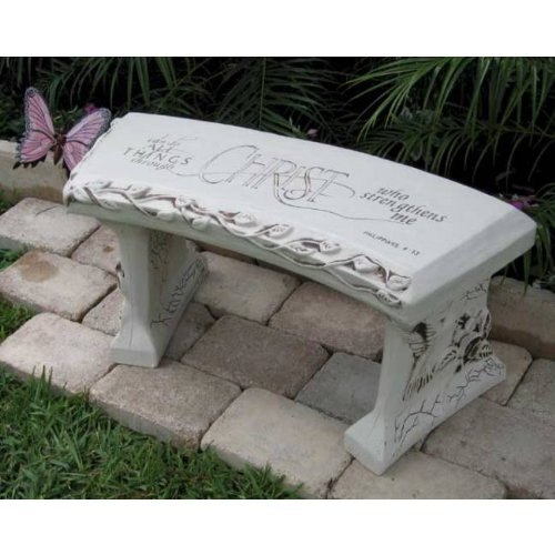 Cheap Hand Crafted 'Spiritual Bench' Cast Stone Garden Bench By Southwest Graphix. Persaonalization Available