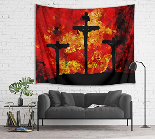 HVEST Crucifix Tapestry Jesus Christ on Cross Wall Hanging Easter Tapestries for Bedroom Living Room Dorm Wall Decor Church Party Backdrop,80Wx60H - Cross Tapestry