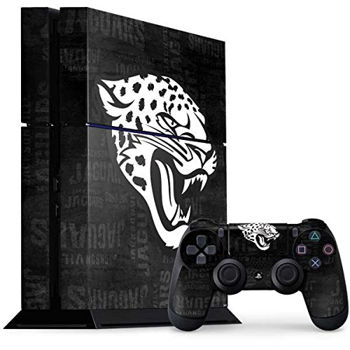 Skinit NFL Jacksonville Jaguars PS4 Console and Controller Bundle Skin - Jacksonville Jaguars Black & White Design - Ultra Thin, Lightweight Vinyl Decal Protection