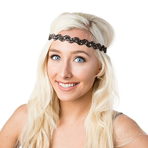 Hipsy Women's Bling Glitter Adjustable No Slip Headband Bulk Gift 10pk (Wave Neutral 10pk)