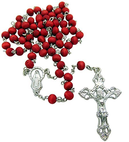 7mm Rose Scented Wood Rosary Red Crucifix