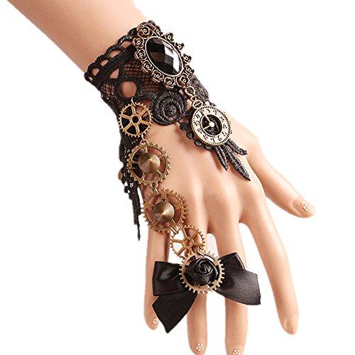 MEiySH Gothic Lolita Retro Steampunk Gear Lace Slave Bracelet Wristband Black Flower Ring (Black 1) -