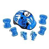 RAINSTAR 7pcs Panda Kids Bicycle Helmet Elbow Wrist Knee Pads Sport Cyling Bike Helmet for Children Skateboard Mtb Riding Blue