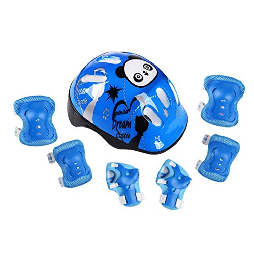RAINSTAR 7pcs Panda Kids Bicycle Helmet Elbow Wrist Knee Pads Sport Cyling Bike Helmet for Children Skateboard Mtb Riding Blue