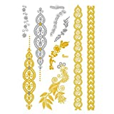 Metallic Temporary Tattoos for Women Silver Gold Waterproof Hair Tattoos Stickers for Girls Removable Tattoos Body Art Fake Tattoos Party Favors 1PC (D)