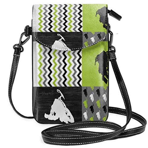 (Small Cell Phone Purse Crossbody Cellphone Shoulder Bag Eat Sleep Snowmobile Wholecloth Cheater Quilt Lime Rotated Smartphone Wallet Purse with Removable Strap)