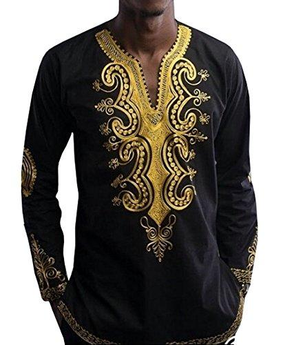 88d4b9ad76b0 Jual Makkrom Men s Long Sleeve Tribal Dashiki Floral Top Blouse ...