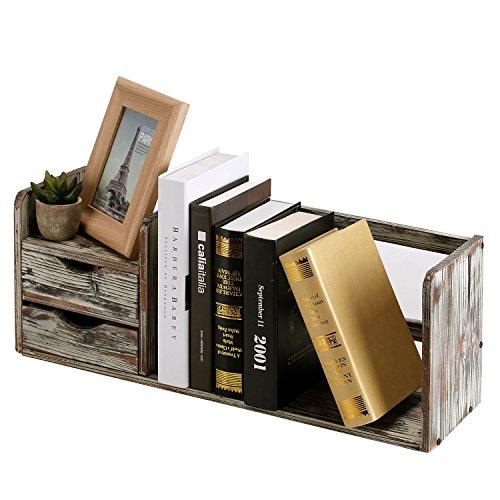 (MyGift Distressed Torched Wood Desktop Bookshelf Organizer with 2 Storage Drawers)