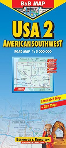 B&B USA 2 America Southwest Laminated Map (Road Maps): B&B Map ...