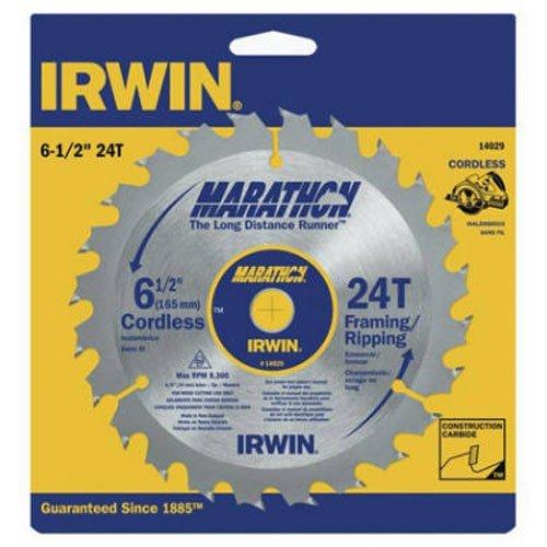 IRWIN Tools MARATHON Carbide Cordless Circular Saw Blade, 6 1/2-Inch, 24T.063-inch Kerf (14029)
