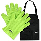 FERS BBQ Cooking Silicone Gloves Mitts & Apron Set – Heat Resistant up to 425°F & Cold up to -45°F – Barbecue Grill Gloves with Nifty Black Apron – Multiple Pockets & Adjustable Straps (Green)