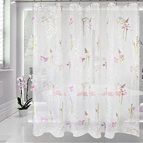 EVA Shower Curtain Liner with Metal Hooks, Mold&Mildew Resistant,Waterproof, Anti-bacterial,Feagar 72x72Inch, PVC Free,Non Toxic,Eco-Friendly,Odorless Flower &Purple Butterfly Bathroom Curtains Sets