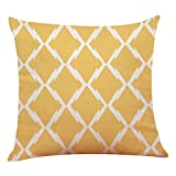 LIEJIE Natural Linen Blend Multicolor Throw Pillow case for Couch, Pack of 1 Square Modern Geometric Patterns Decorative 45 x 45cm