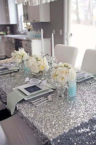 """Pony Dance Stylish Glitter Sequins Tablecloth,Solid Sequin Tablecloths,Hand Made Decorative Party Café Table Cloth,53"""" x 72""""(135 x 182 cm),Silver"""