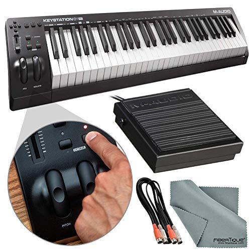 - M-Audio Keystation 61MK3 Compact 61-Key USB-Powered MIDI Keyboard Controller with Sustain Pedal & Accessory Pack