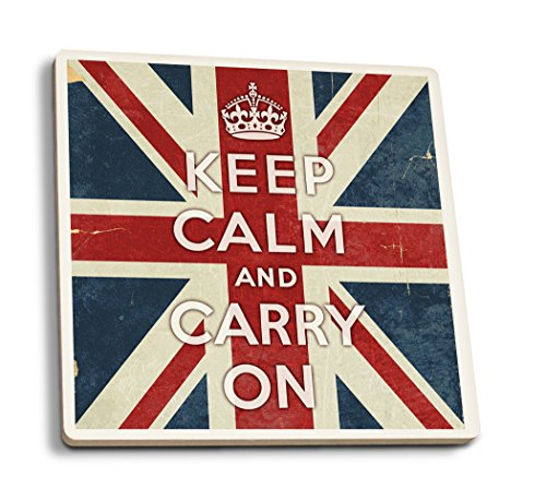 (Lantern Press Union Jack - Keep Calm and Carry On (Set of 4 Ceramic Coasters - Cork-Backed, Absorbent) )