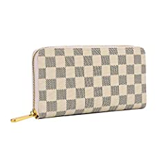 Colors: black, brown and beige Size:7.5 x 3.8 x 1.5inch,It's lighter than an iPhone(270g ) This classic checkered print wallet is both on trend and practical.perfect for smart phones like iPhone 7 or 8 plus, iPhone XR/XS,convenient zip around...