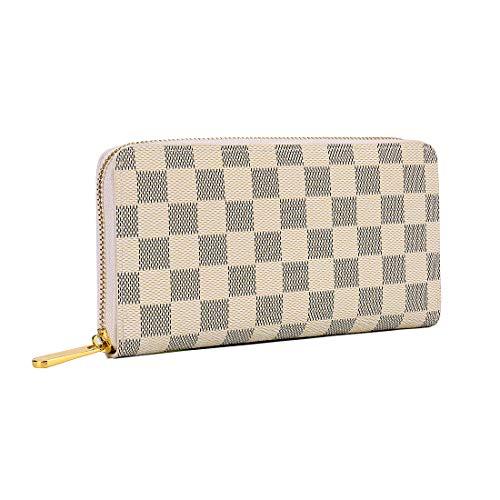 QEGGS Womens Zipper Wallet Coin Purses Clutch Handbags for Phone and RFID Blocking Card Holder,White, Medium