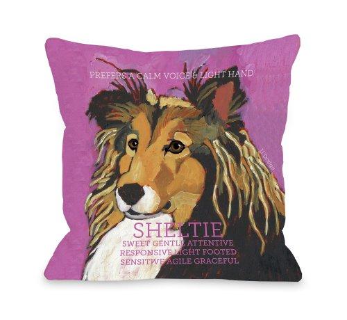 ArtFuzz Sheltie 2 Throw Pillow by Ursula Dodge 16 X 16