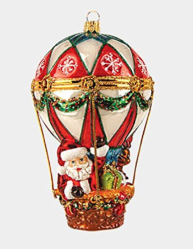 Pinnacle Peak Trading Company Santa in Hot Air Balloon Polish Glass Christmas Tree Ornament Holiday Decoration