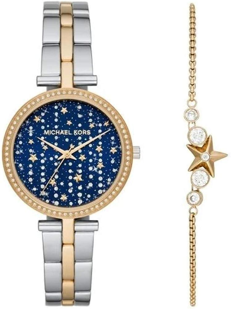 Michael Kors Maci - Reloj para Mujer con Correa de Brazalete de Cristal y Juego de Cadena de Estrella, Plateado/Dorado - MK1021